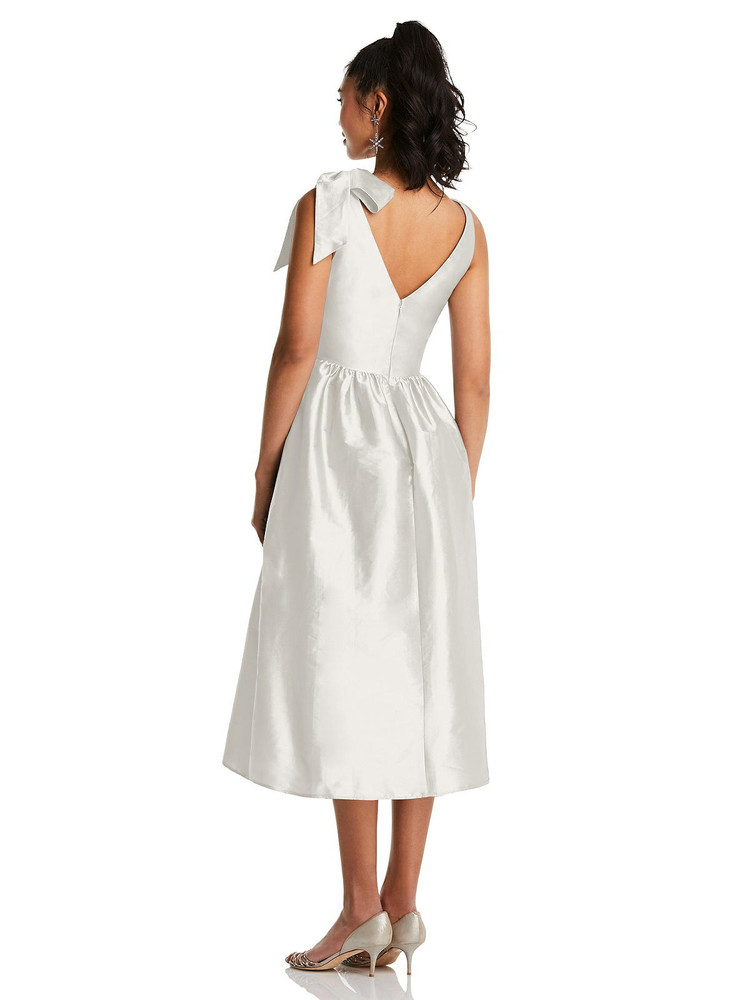 Bowed-Shoulder Full Skirt Midi Dress with Pockets TH077  By Thread Bridesmaids in 32 colors