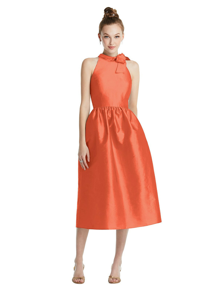 Bowed High-Neck Full Skirt Midi Dress with Pockets TH075  By Thread Bridesmaids in 32 colors in Fiesta