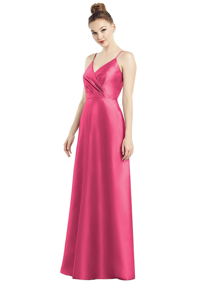 Draped Wrap Satin Maxi Dress with Pockets By Alfred Sung D776 in 36 colors in forever pink