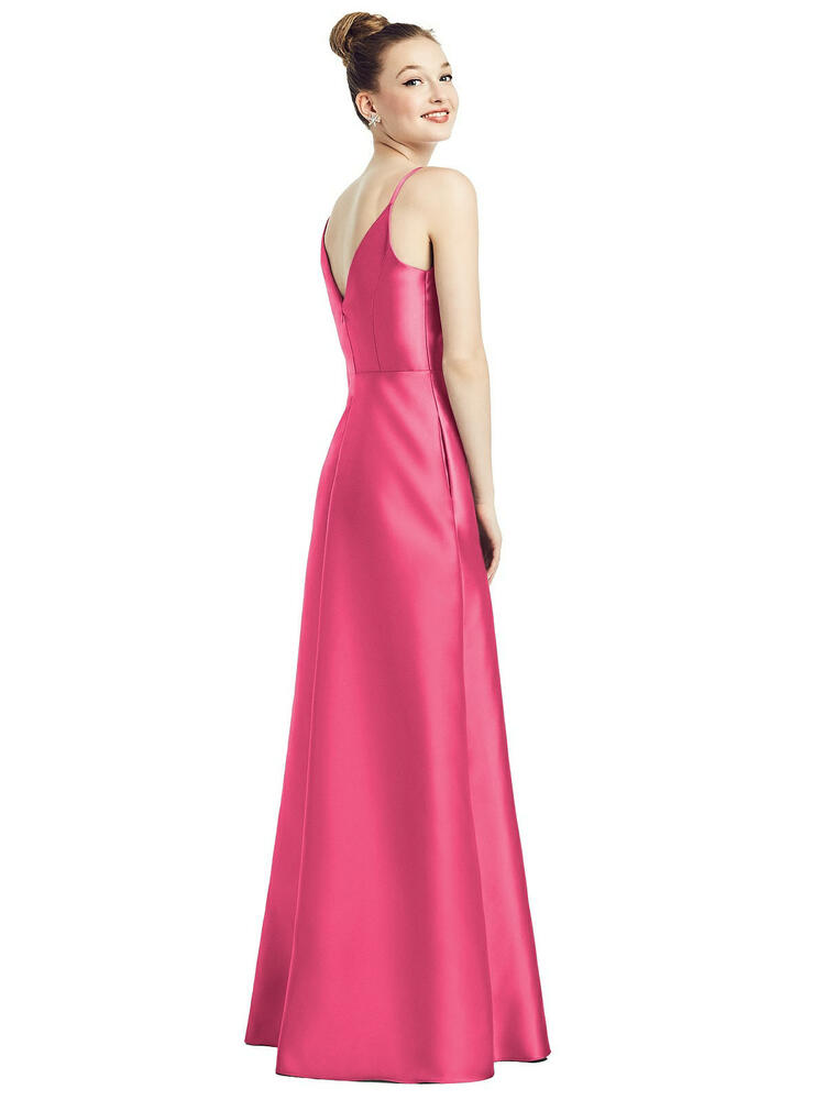 Draped Wrap Satin Maxi Dress with Pockets By Alfred Sung D776 in 36 colors