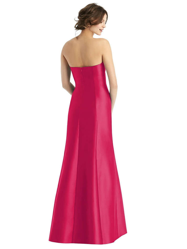Strapless Satin Trumpet Gown with Front Slit By Alfred Sung D764 in 36 colors in Vivid Pink