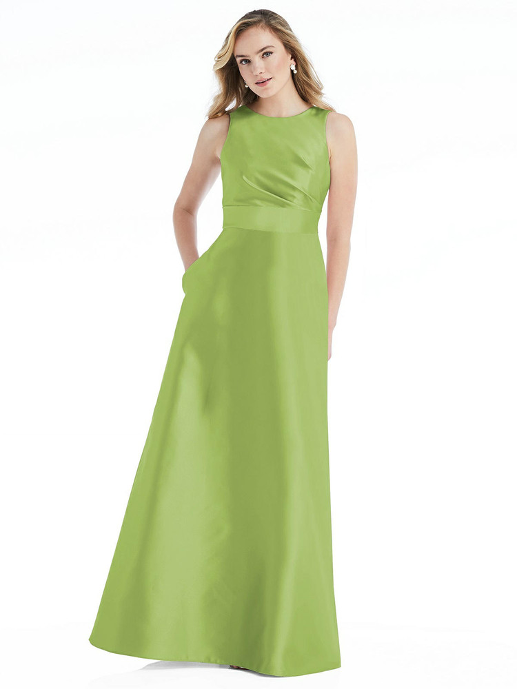 High-Neck Asymmetrical Shirred Satin Maxi Dress with Pockets By Alfred Sung D813 in 36 colors in mojito