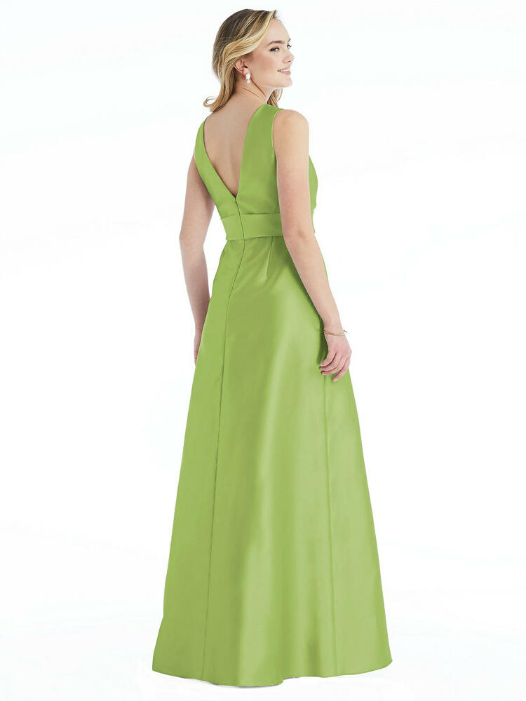 High-Neck Asymmetrical Shirred Satin Maxi Dress with Pockets By Alfred Sung D813 in 36 colors
