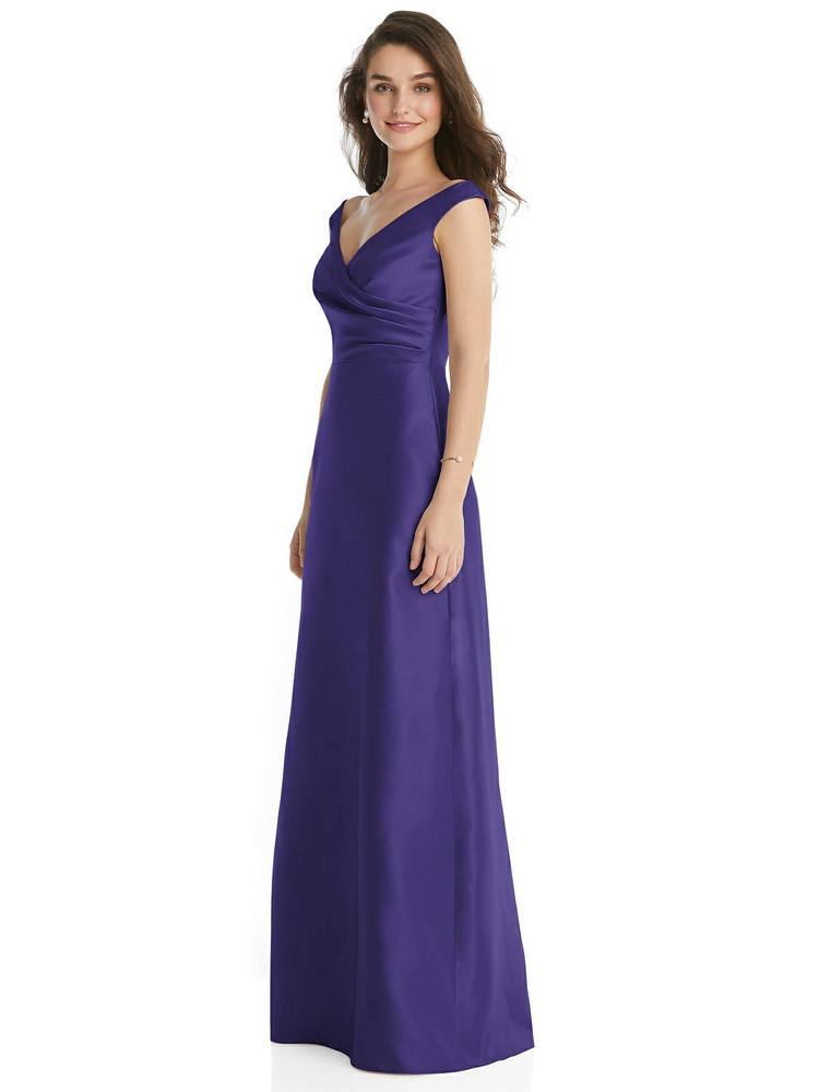 Off-the-Shoulder Draped Wrap Maxi Dress with Pockets By Alfred Sung D817 in 36 colors