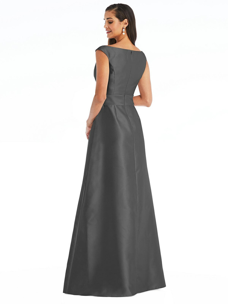 Off-the-Shoulder Draped Wrap Satin Maxi Dress By Alfred Sung D811 in 36 colors