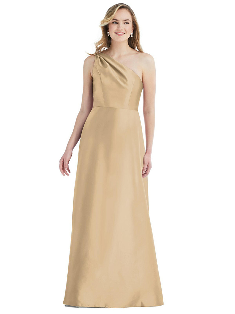Pleated Draped One-Shoulder Satin Maxi Dress with Pockets By Alfred Sung D821 in 36 colors in golden