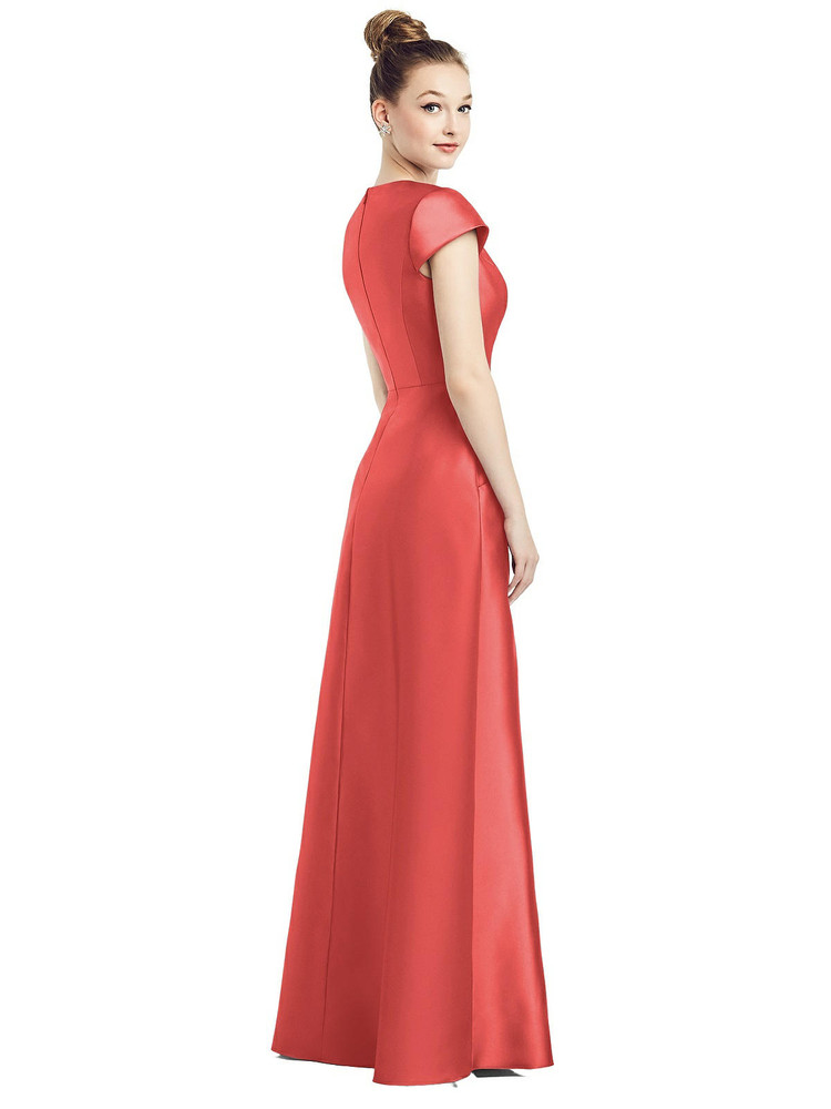 Cap Sleeve V-Neck Satin Gown with Pockets By Alfred Sung D779 in 36 colors in perfect coral