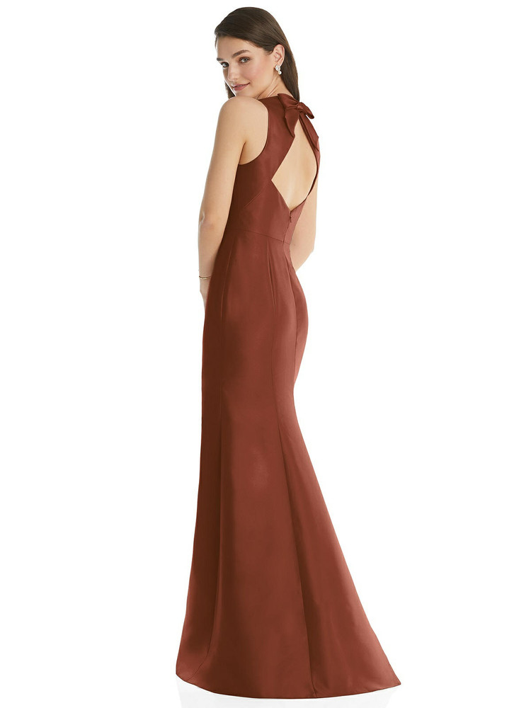 Jewel Neck Bowed Open-Back Trumpet Dress with Front Slit By Alfred Sung D824 in 36 colors