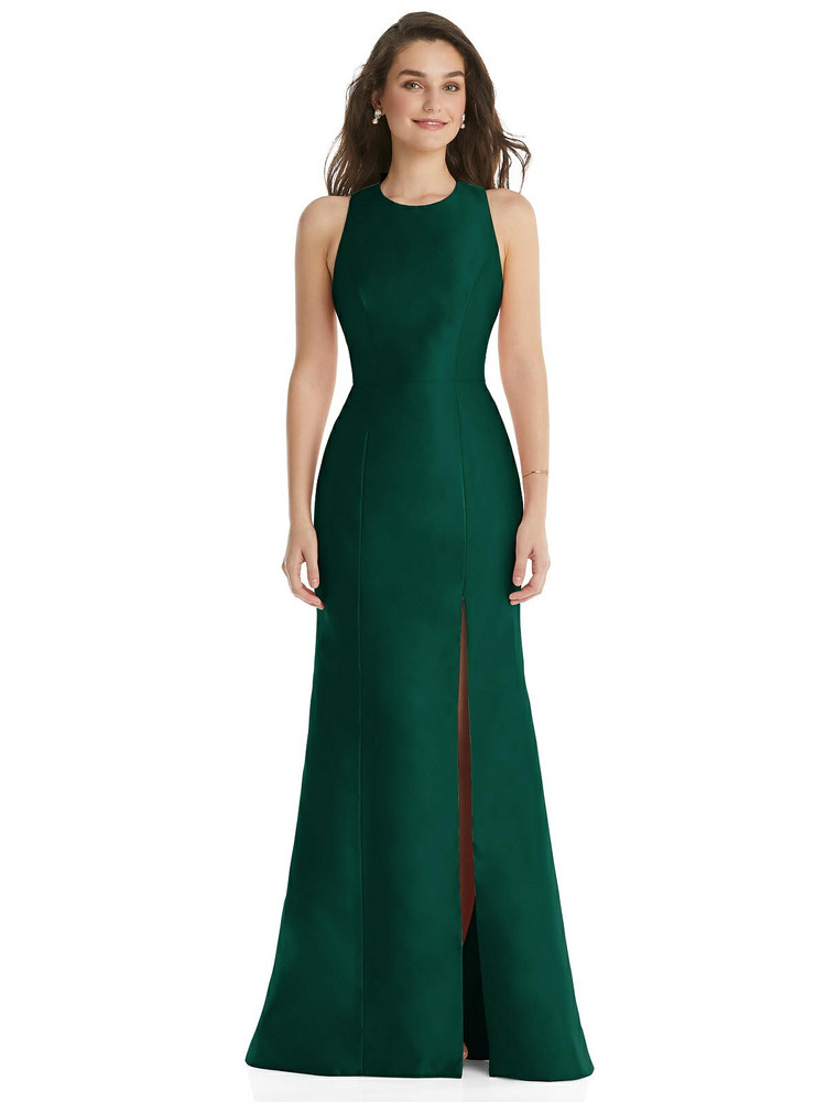Jewel Neck Bowed Open-Back Trumpet Dress with Front Slit By Alfred Sung D824 in 36 colors in Hunter