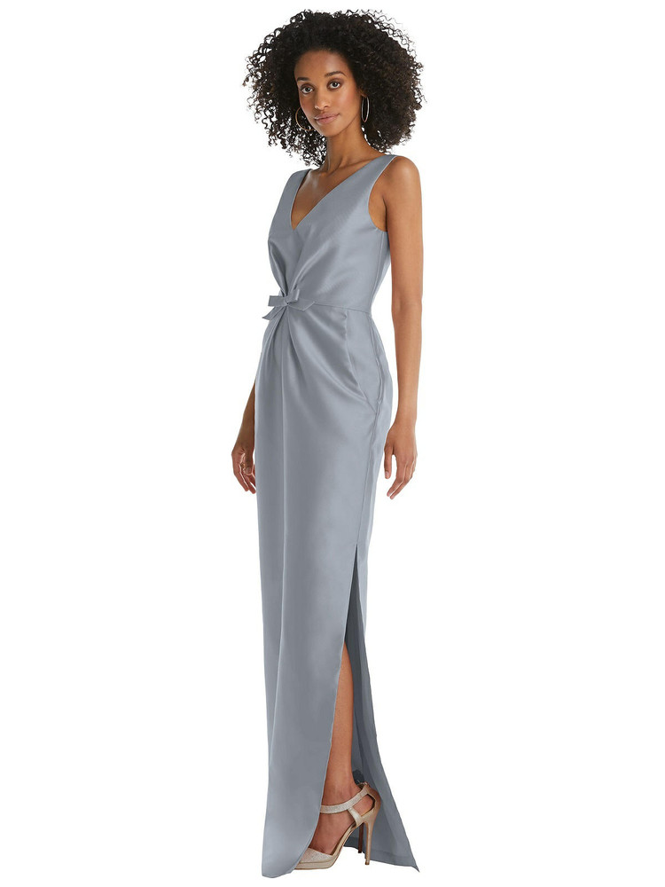 Pleated Bodice Satin Maxi Pencil Dress with Bow Detail By Alfred Sung D810 in 36 colors
