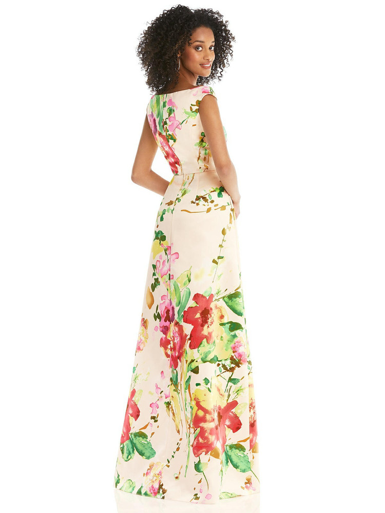 Blush Pink Floral Off-the-Shoulder Draped Wrap Maxi Dress By Alfred Sung D817FP  in blush bouquet