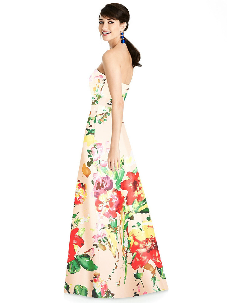 Floral Strapless A-Line Satin Dress with Pockets By Alfred Sung D748 FP  in blush bouquet