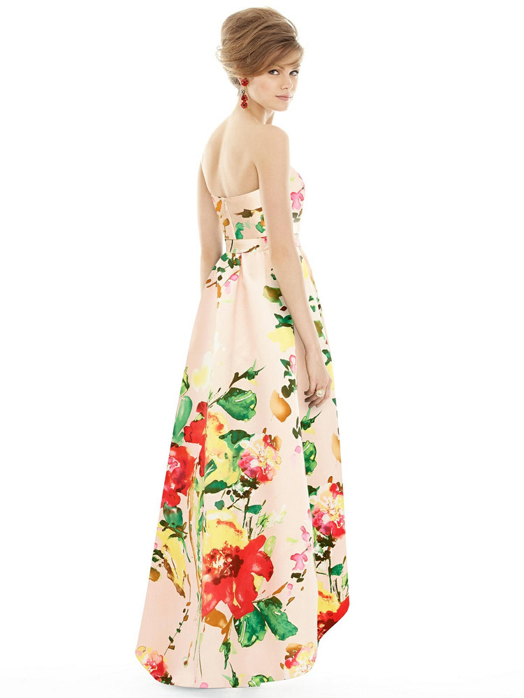 Floral Strapless Satin High Low Dress with Pockets By Alfred Sung D699FP  in blush bouquet