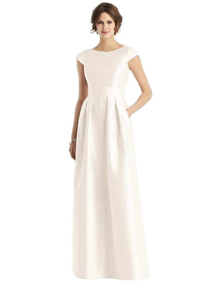 Cap Sleeve Pleated Skirt Dress with Pockets By Alfred Sung D767 in 36 colors