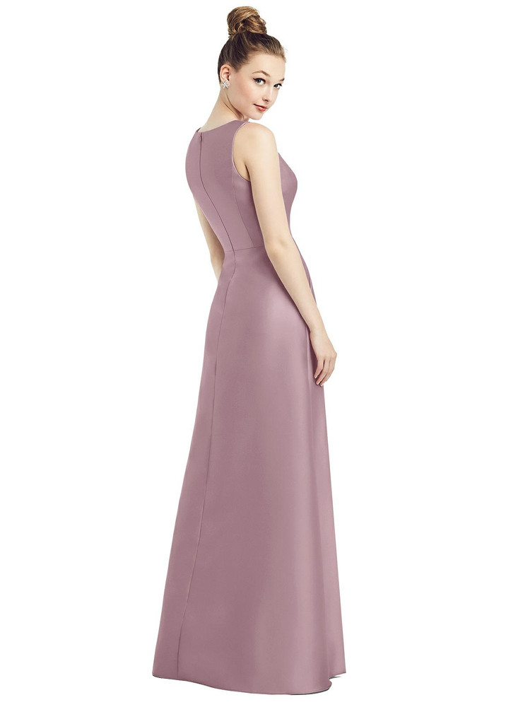 Sleeveless V-Neck Satin Dress with Pockets by Alfred Sung D778 in 33 colors