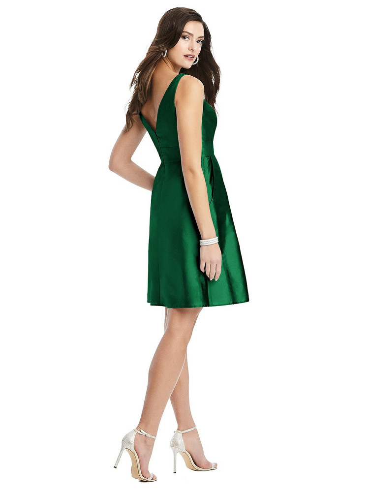 Sleeveless Pleated Skirt Cocktail Dress with Pockets By Alfred Sung D784 in 33 colors