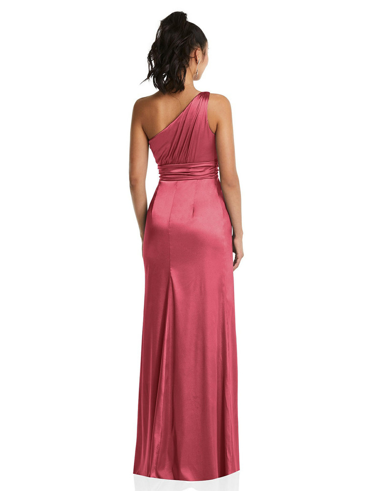 One-Shoulder Draped Satin Maxi Dress TH063 By Thread Bridesmaids in 32 colors shown in Nectar