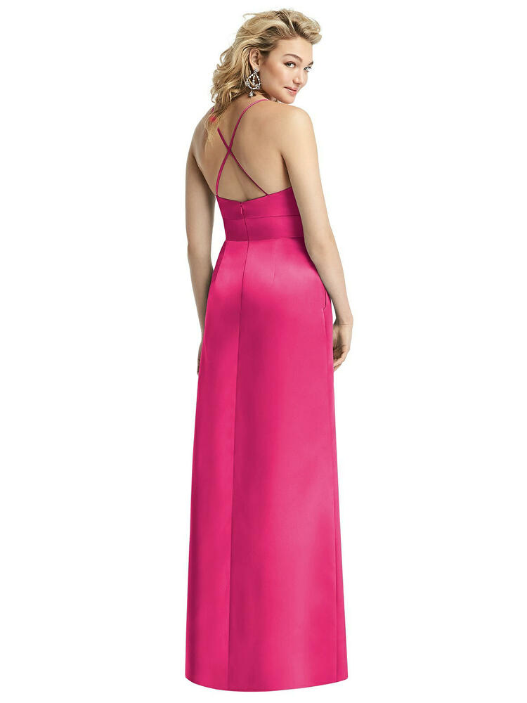 Pleated Skirt Satin Maxi Dress with Pockets By After Six 1521 in 74 colors shown in Azalea