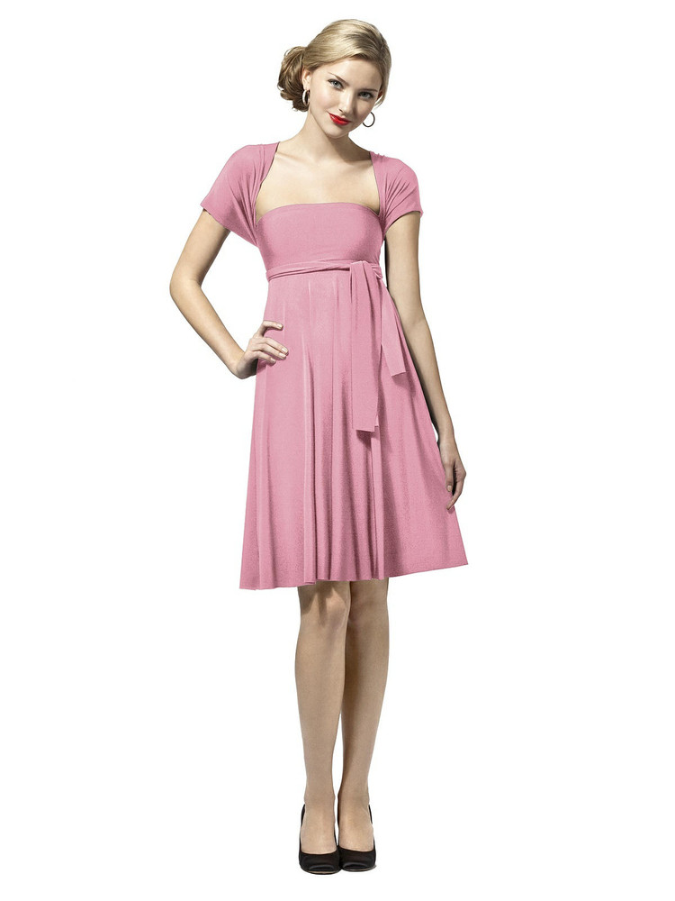 Convertible Twist Wrap Dress by Dessy : Short in Sea Pink