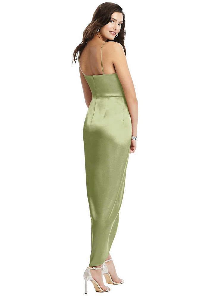 Faux Wrap Midi Dress with Draped Tulip Skirt style 6828 available in 37 colors