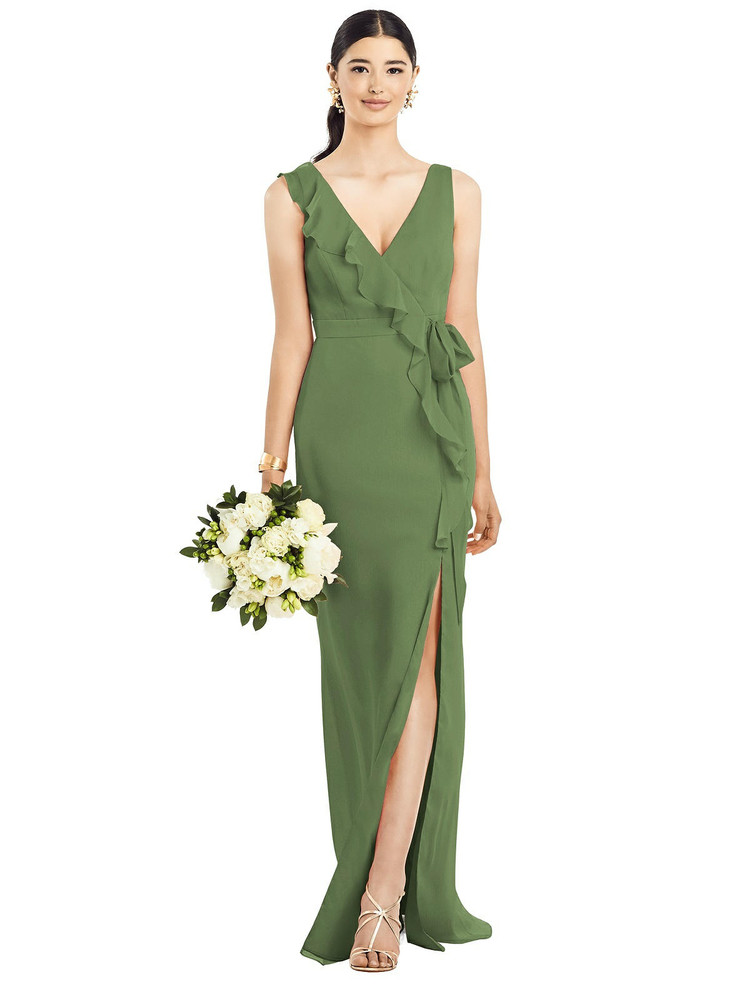 Sleeveless Ruffled Wrap Chiffon Gown by  After Six 1528 in 64 colors in Clover