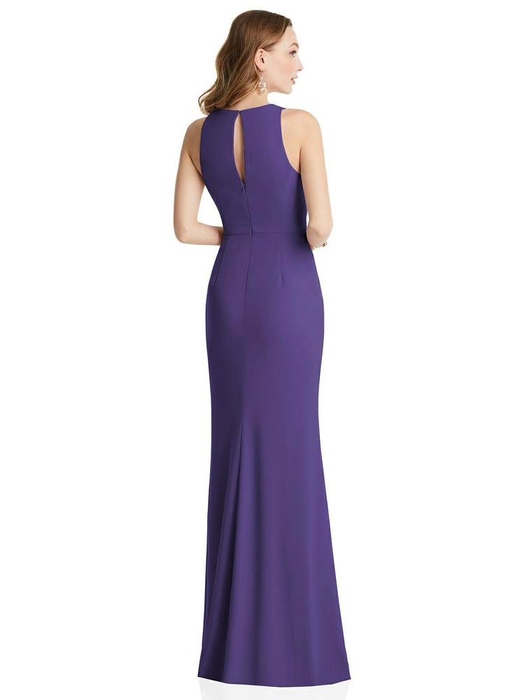 Halter Maxi Dress with Cascade Ruffle Slit by Dessy style 3081 available in  32 color shown in Regalia