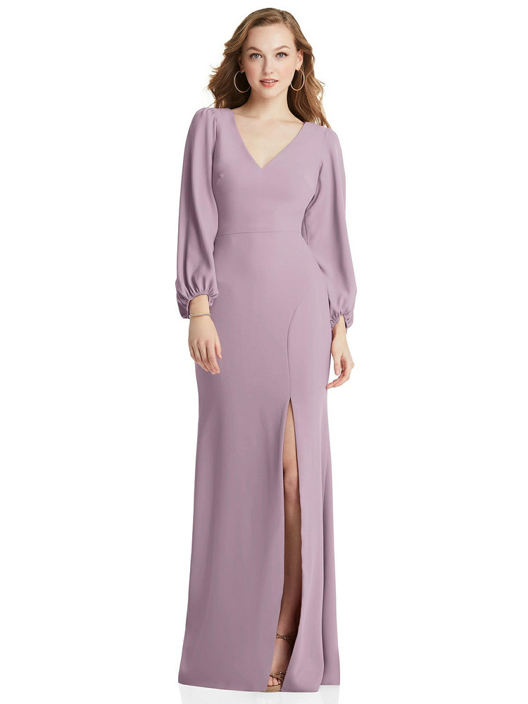 Long Puff Sleeve V-Neck Trumpet Gown Dessy Collection Style 3083 available in 35 colors shown in suede rose