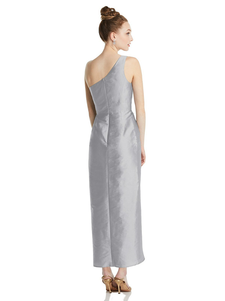 One-Shoulder Gathered Tulip Skirt Midi Dress TH073 By Thread Bridesmaids in 32 colors shown in daffodil