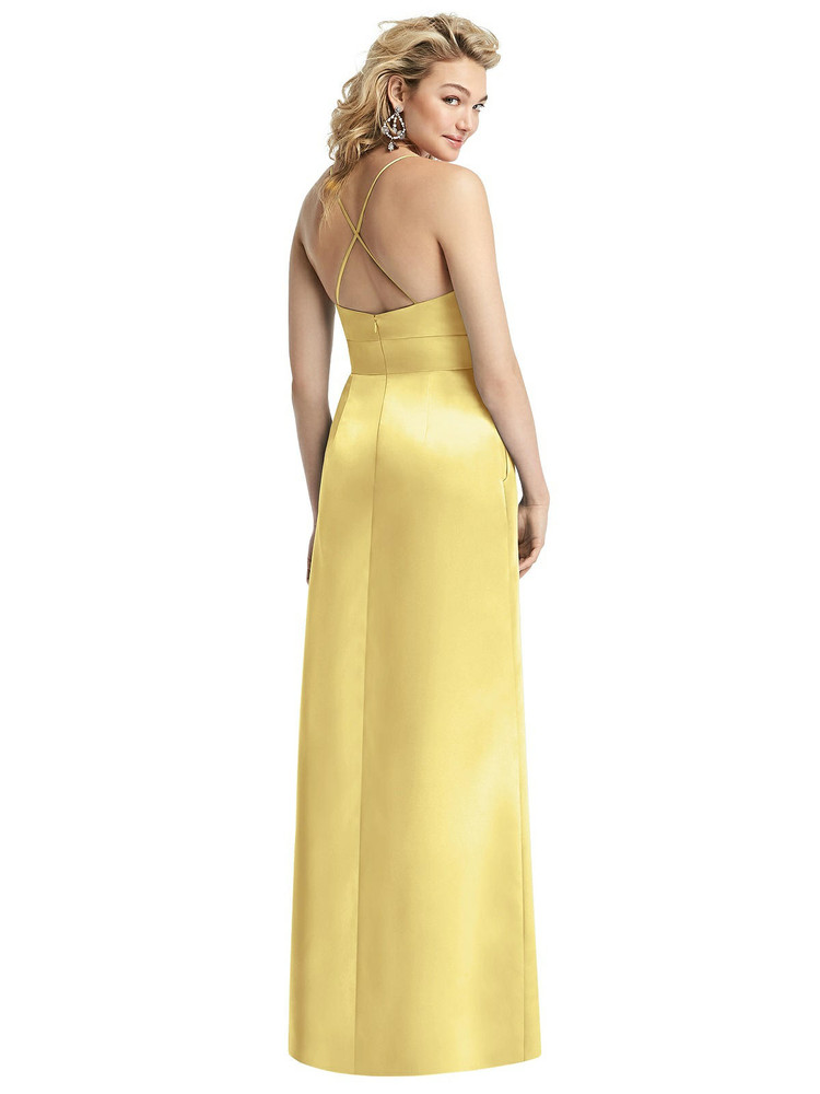 Pleated Skirt Satin Maxi Dress with Pockets By After Six 1521 in 74 colors shown in Sunflower