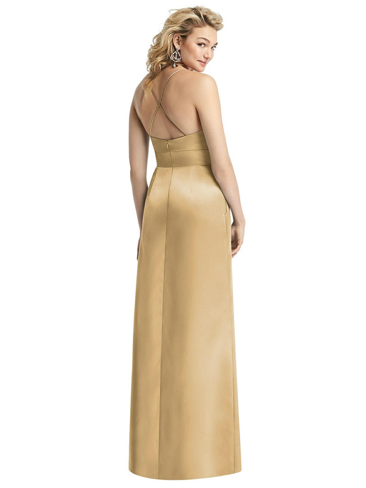 Pleated Skirt Satin Maxi Dress with Pockets By After Six 1521 in 74 colors shown in Venetian gold