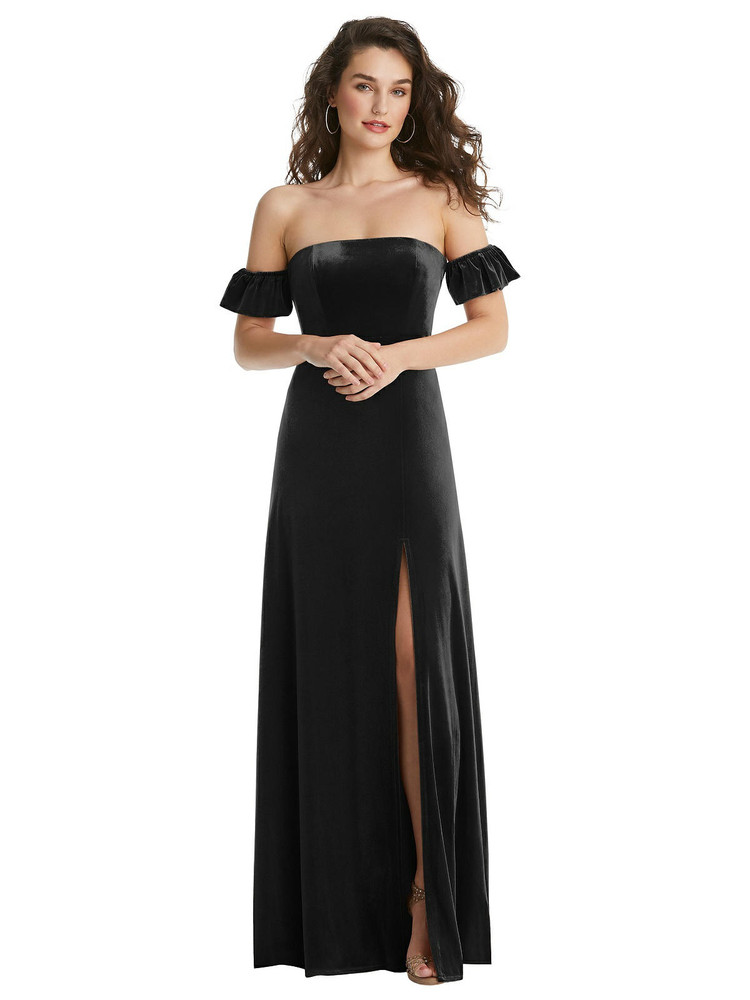 Ruffle Sleeve Off-the-Shoulder Velvet Maxi Dress By After Six 1553 in 9 colors in Black