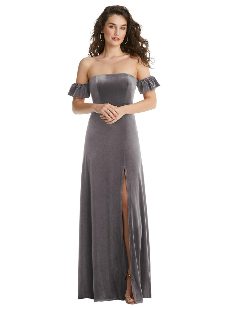 Ruffle Sleeve Off-the-Shoulder Velvet Maxi Dress By After Six 1553 in 9 colors in Caviar Bray