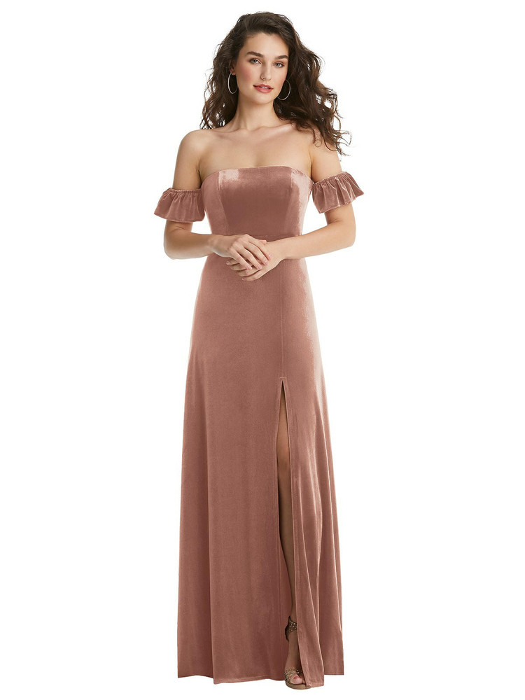 Ruffle Sleeve Off-the-Shoulder Velvet Maxi Dress By After Six 1553 in 9 colors in Tawny Rose