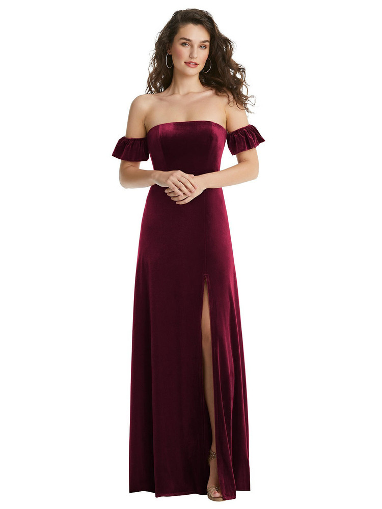 Ruffle Sleeve Off-the-Shoulder Velvet Maxi Dress By After Six 1553 in 9 colors in cabernet