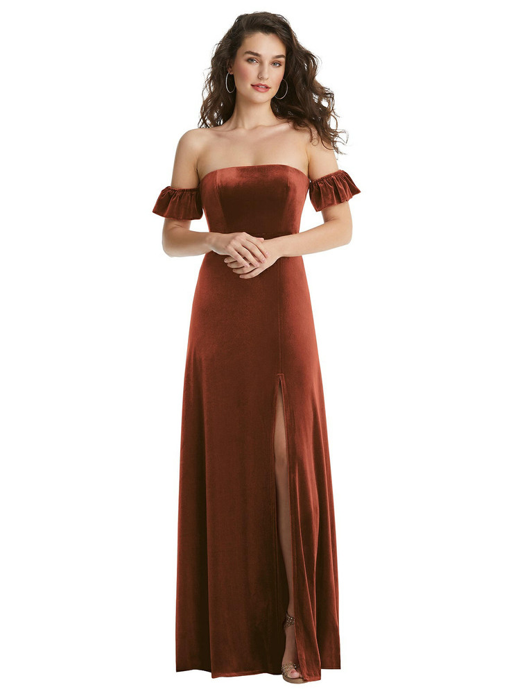 Ruffle Sleeve Off-the-Shoulder Velvet Maxi Dress By After Six 1553 in 9 colors in Auburn Moon