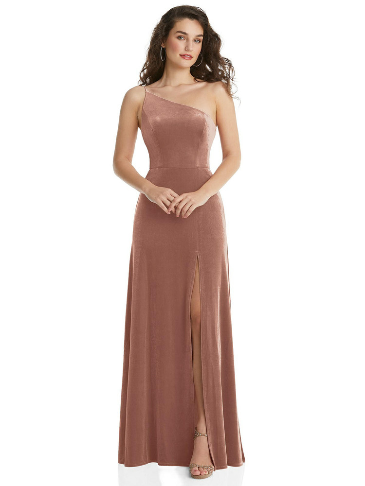 One-Shoulder Spaghetti Strap Velvet Maxi Dress with Pockets By After Six
