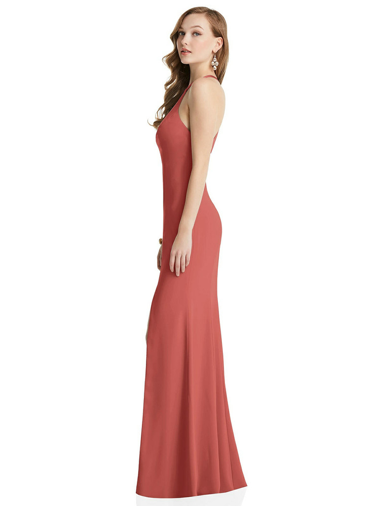 High-Neck Halter Dress with Twist Criss Cross Back By After Six 6848 in 17 colors