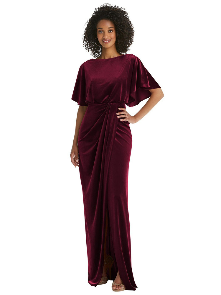 Flutter Sleeve Open-Back Velvet Maxi Dress with Draped Wrap Skirt By After Six 1552 in 9 colors