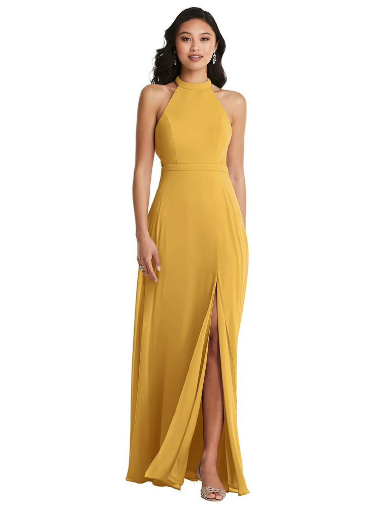 Stand Collar Halter Maxi Dress with Criss Cross Open-Back by  Dessy 3082 in 30 colors shown in Smashing