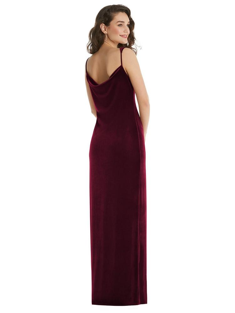 Asymmetrical One-Shoulder Velvet Maxi Slip Dress By Social Bridesmaid 8213 in 9 colors