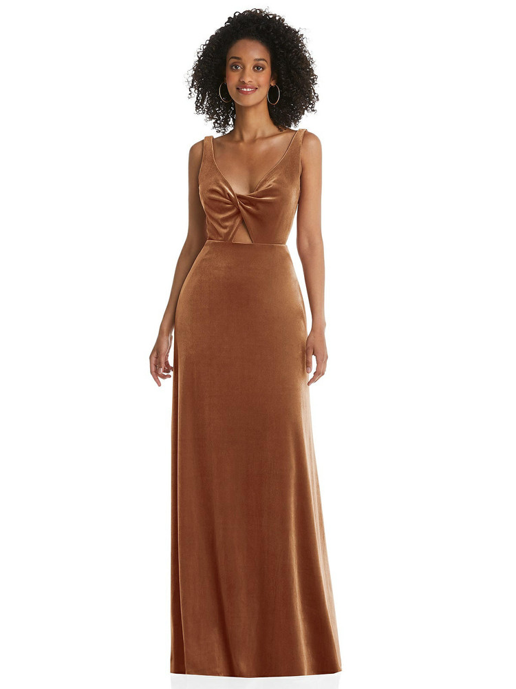 Twist Front Cutout Velvet Maxi Dress - Cameron By Lovely Style LB033 in 9 colors