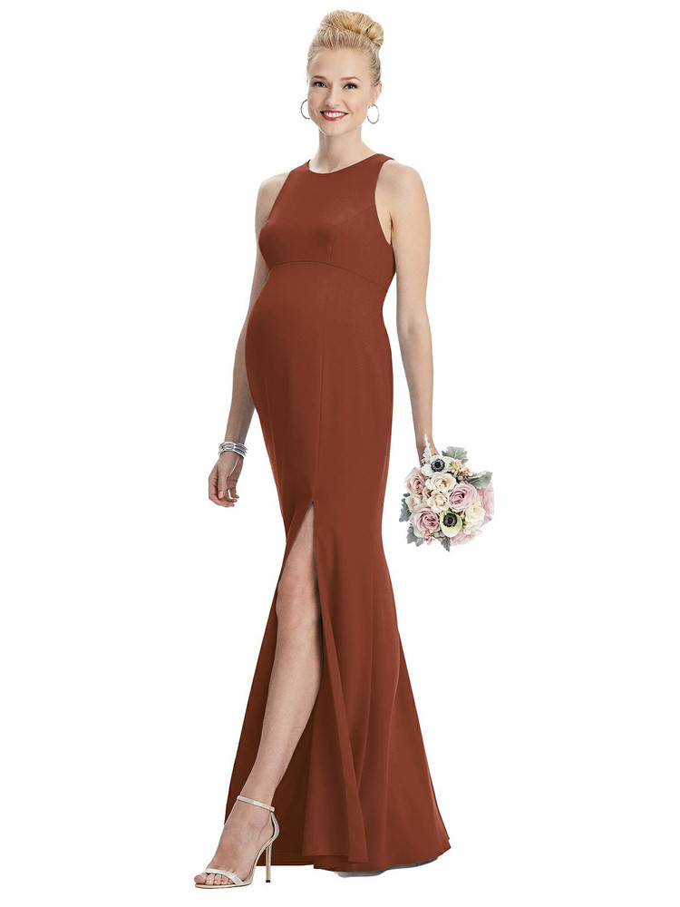 Sleeveless Halter Maternity Dress with Front Slit By Maternity Style M441 in 32 colors