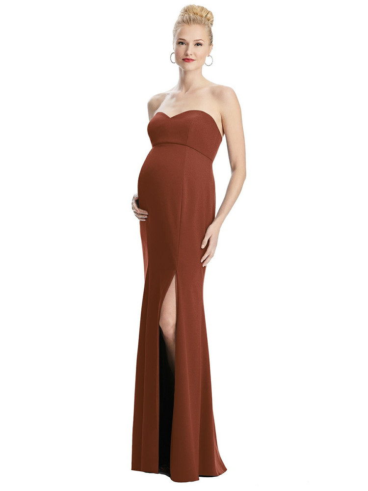 Strapless Crepe Maternity Dress with Trumpet Skirt By Maternity Style M440 in 32 colors