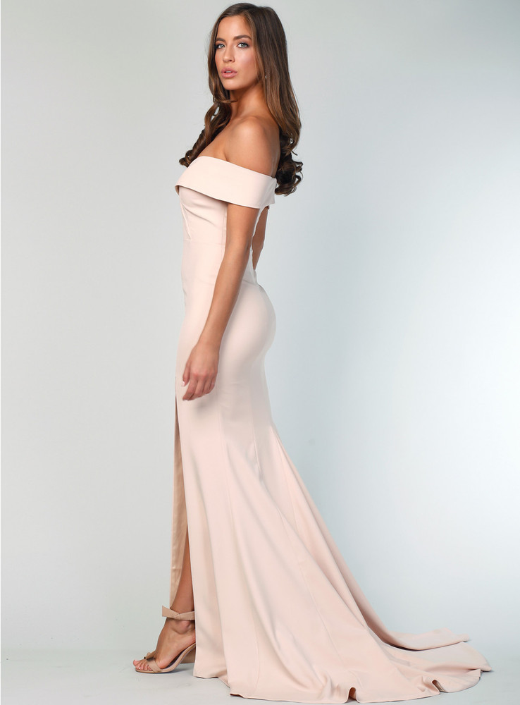 Gia Off the Shoulder Gown By Samantha Rose - Nude - in size 12 ( please note: some lint on left bust)