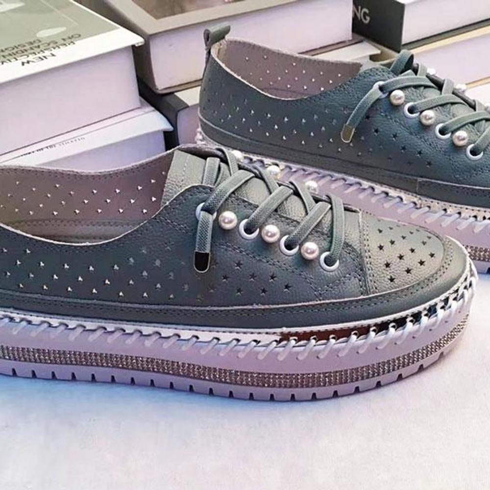 Perla Leather Laser Detail Sneakers