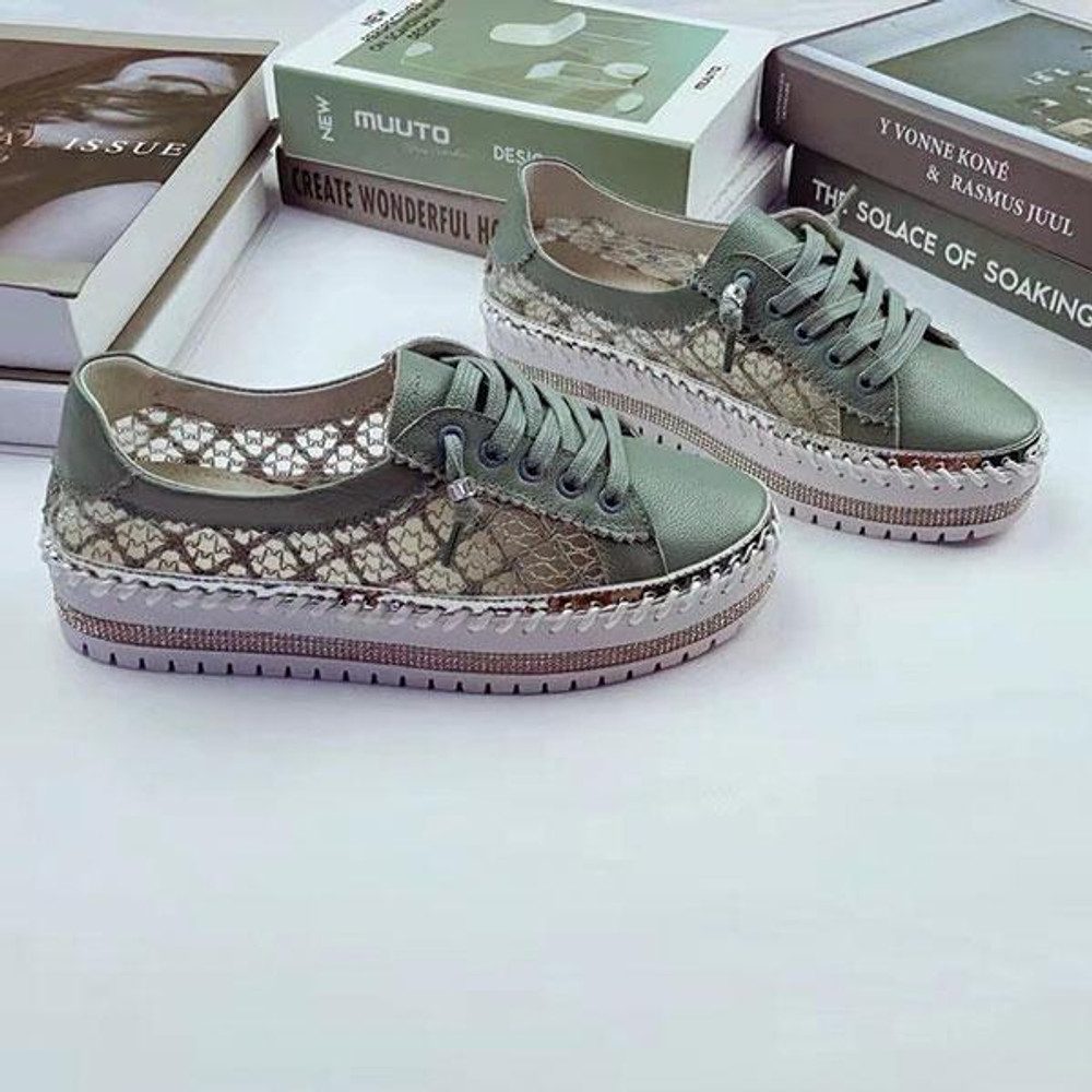 Lace Leather & Lace Sneakers