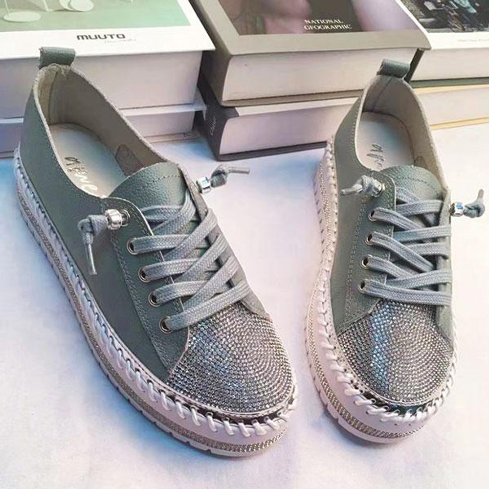 SKY leather crystal sneakers by Ameise in 8 colors in Gunmetal