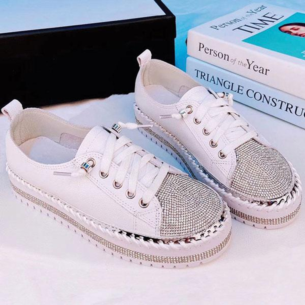 Sky Leather Crystal Sneakers by Ameise in 7 colours
