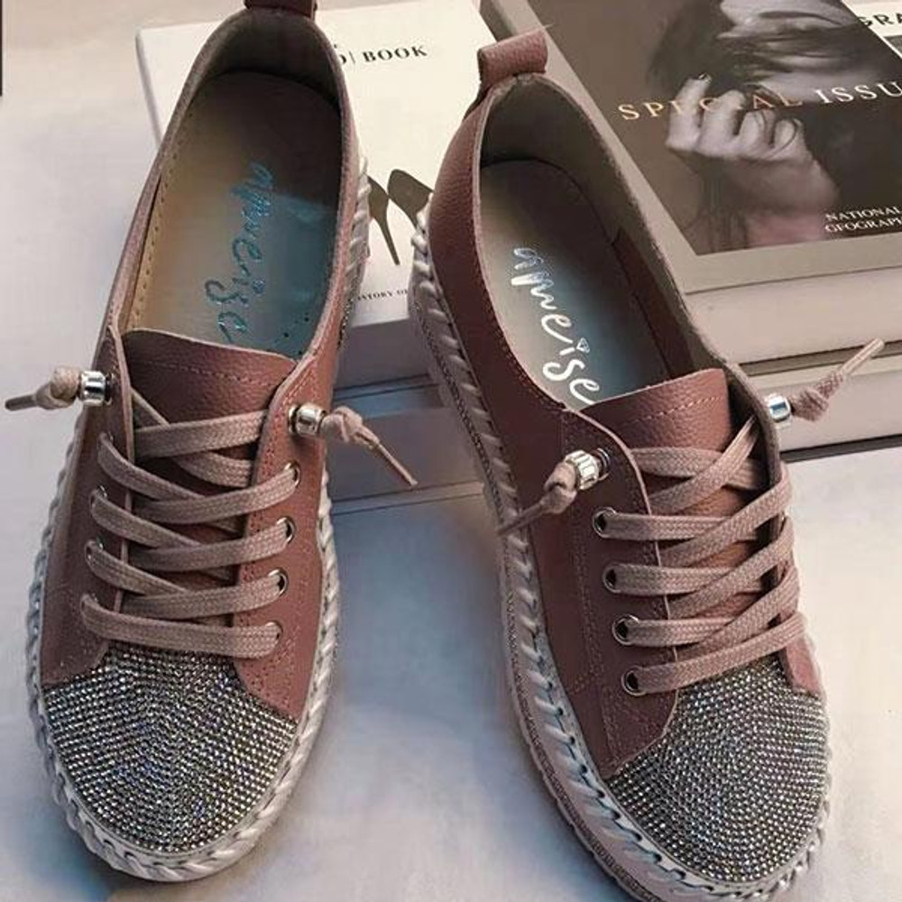 SKY leather crystal sneakers by Ameise in 8 colors in Mauve