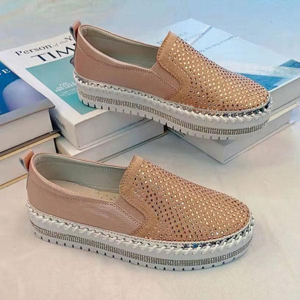 Crystal Leather Slip-on Sneakers by Ameise in rose gold